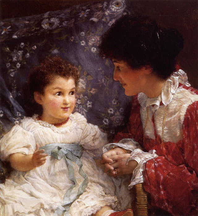 Paintings Reproductions Alma-Tadema,Sir Lawrence Mrs George Lewis and Her Daughter Elizabeth, 1899