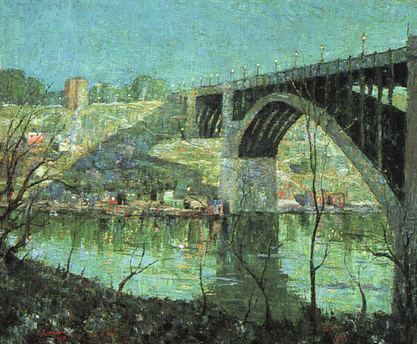 Paintings Reproductions Lawson, Ernest Spring Night at Harlem River, 1913