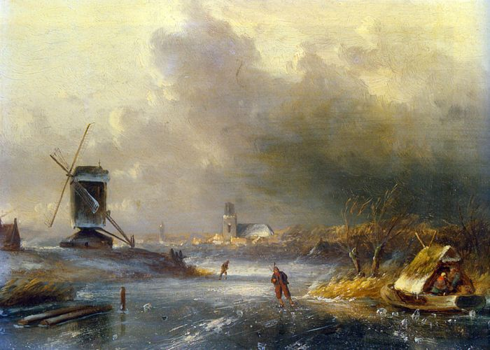 Charles Henri Joseph LeickertReproductions-Winter Landscape with Skaters on a Frozen River