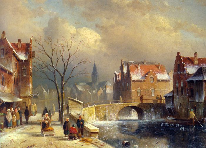 Paintings Reproductions Leickert, Charles Henri Joseph Winter Villagers on a Snowy Street by a Canal