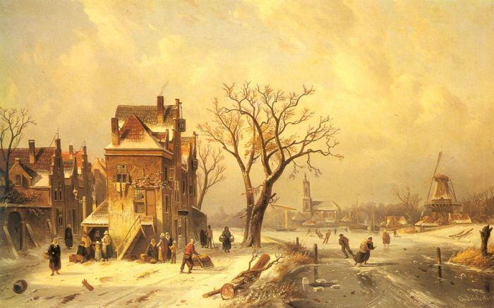 Charles Henri Joseph LeickertReproductions-Skaters in a Frozen Winter Landscape, 1872