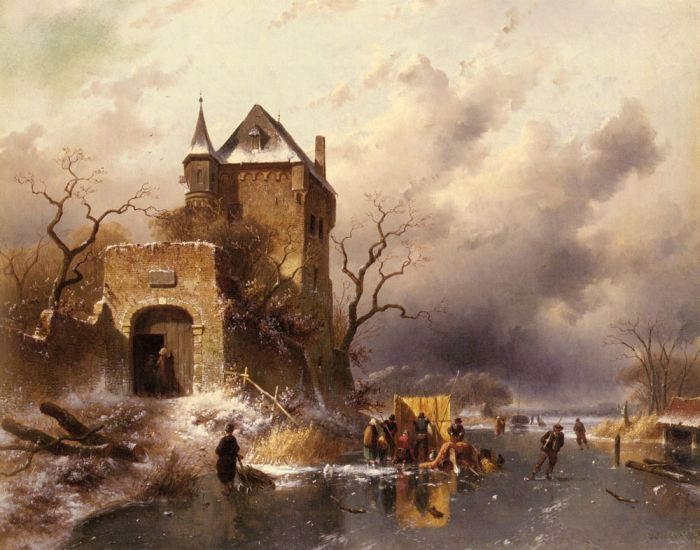 Paintings Reproductions Leickert, Charles Henri Joseph Skaters on a Frozen Lake by the Ruins of a Castle, 1863