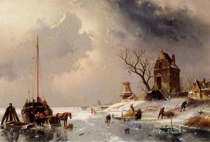 Paintings Reproductions Leickert, Charles Henri Joseph Figures Loading A Horse-Drawn Cart On The Ice, 1878