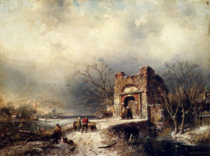 Charles Henri Joseph LeickertReproductions-Villagers On A Frozen Path, 1859