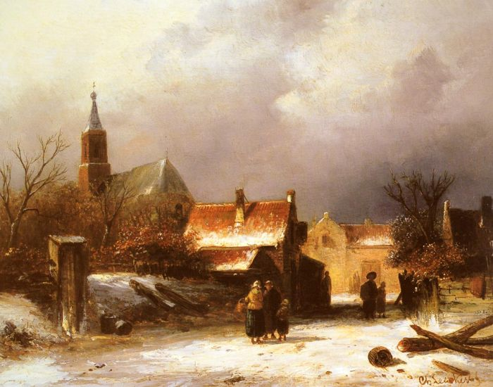 Charles Henri Joseph LeickertReproductions-Figures on a Snow Covered Path with a Dutch Town beyond