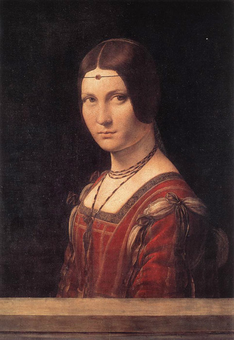 Leonardo da Vinci Reproductions-Lady from the Court of Milan, La Belle Ferronniere, c.1490