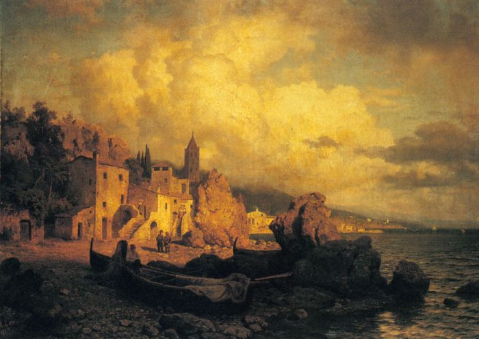August Wilhelm Leu Reproductions-A Coastal Fishing Village, 1863