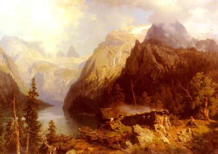 August Wilhelm Leu Reproductions-A Shepherdess and Sheep resting by a Lake in an Alpine Landscape