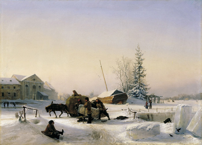 Paintings Reproductions Lagorio, Lev Feliksovich Ice Scating, 1849
