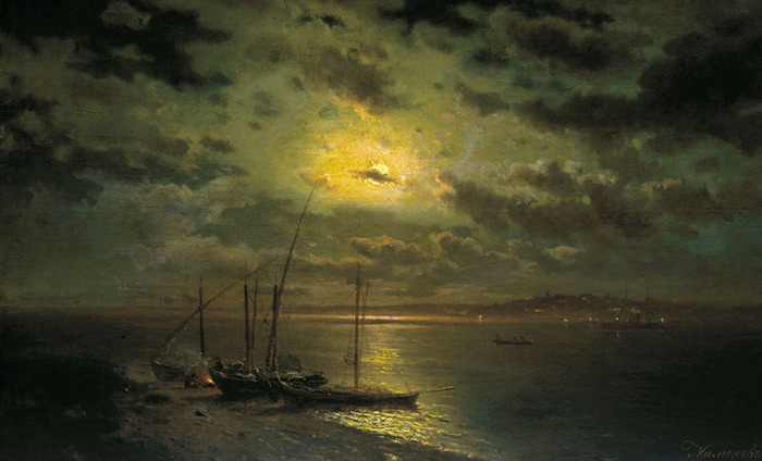 Lev Lvovic Kamenev Reproductions-Moonlight by a River, 1870