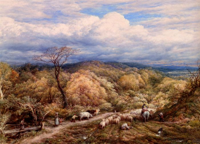 John LinnellReproductions- An Autumn Afternoon With Shepherd And Flock , 1873