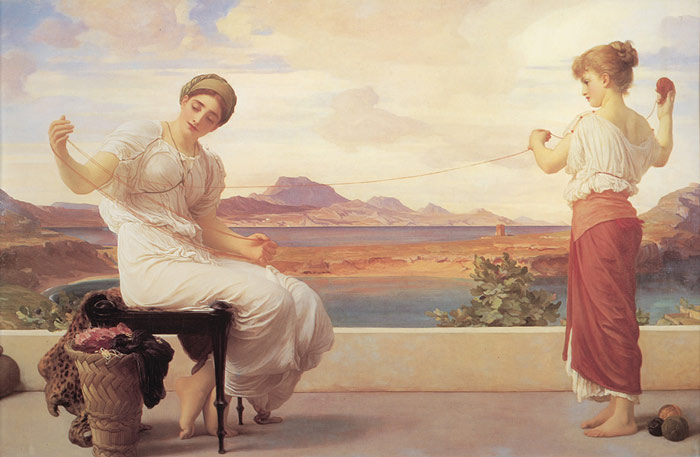 Paintings Reproductions Leighton, Lord Frederick Winding the Skein, c.1878