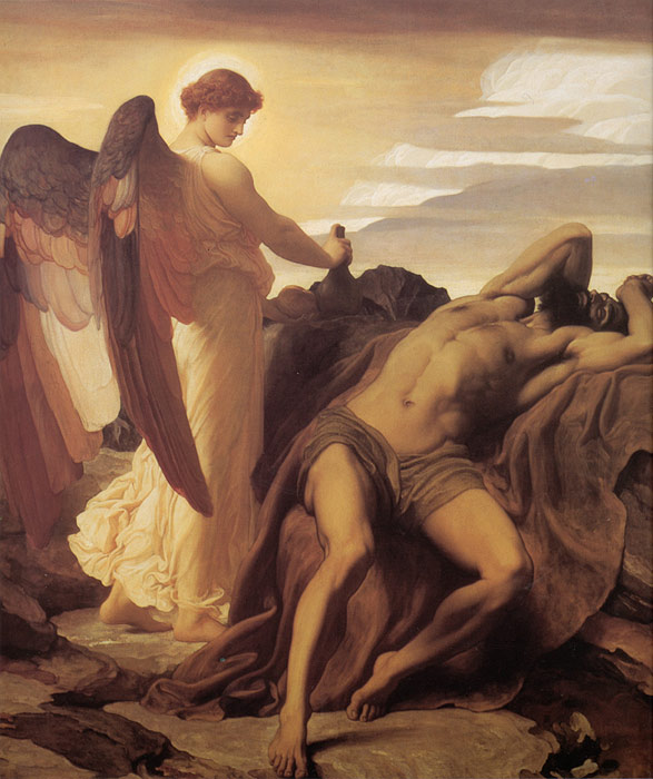 Lord Frederick Leighton Reproductions-Elijah in the Wilderness, c.1878