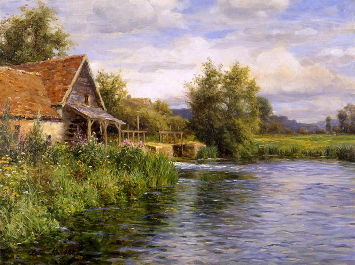 Louis Aston Knight Reproductions-Cottage by the River