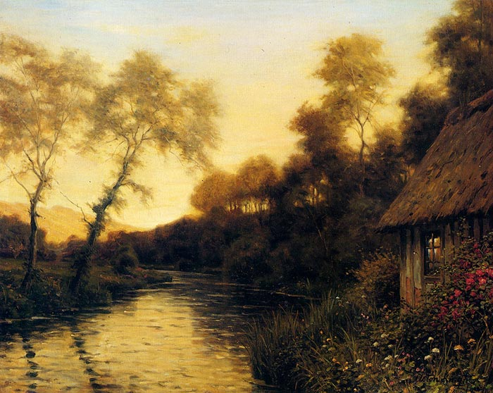 Louis Aston Knight Reproductions-A French River Landscape At Sunset