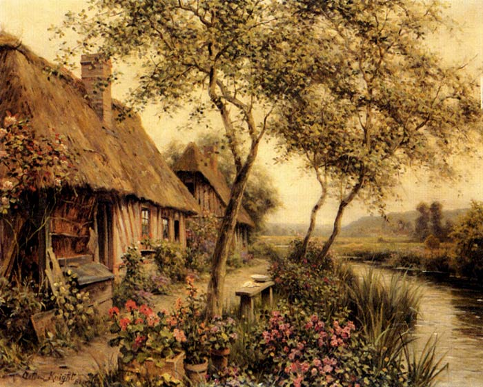 Louis Aston Knight Reproductions-Cottages Beside A River