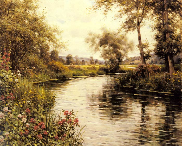 Louis Aston Knight Reproductions-Flowers in Bloom by a River