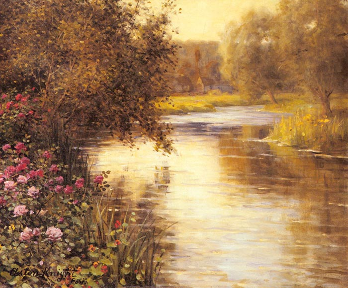 Louis Aston Knight Reproductions-Spring Blossoms along a Meandering River