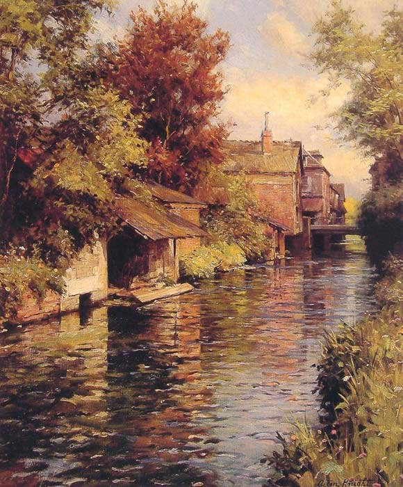 Louis Aston Knight Reproductions-Sunny Afternoon on the Canal