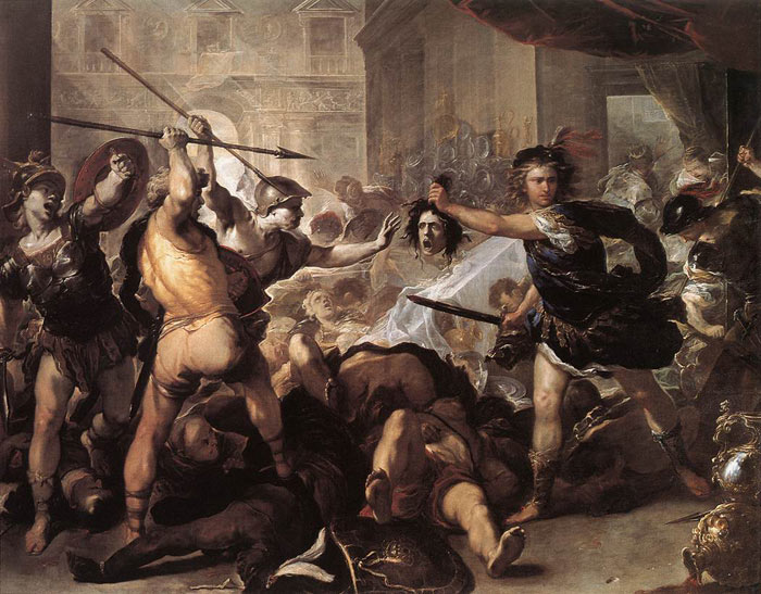 Luca Giordano Reproductions-Perseus Fighting Phineus and his Companions, 1670