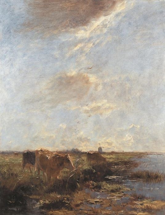 Paintings Reproductions Maris, Wenzel (Willem) Cows in a Polder Landscape (Summer Day), 1890