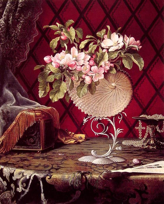 Martin Johnson Heade Reproductions-Still Life with Apple Blossoms in a Nautilus Shell, 1870