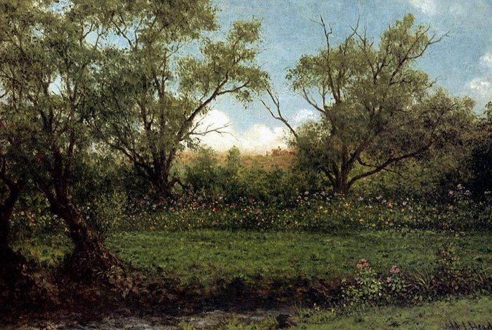Martin Johnson Heade Reproductions-Brookside (Asters In A Field), c.1874-1875