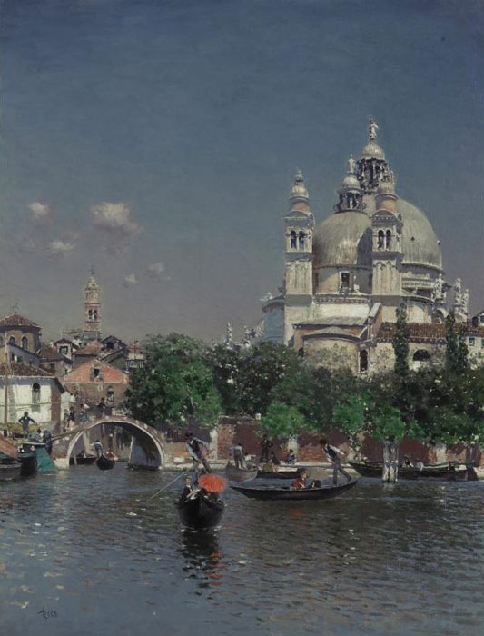 Martin Rico y Ortega Reproductions-Venetian Lagoon Near the Church of Santa Maria della Salute