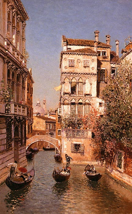 Paintings Reproductions Ortega, Martin Rico y Along The Canal, Venice