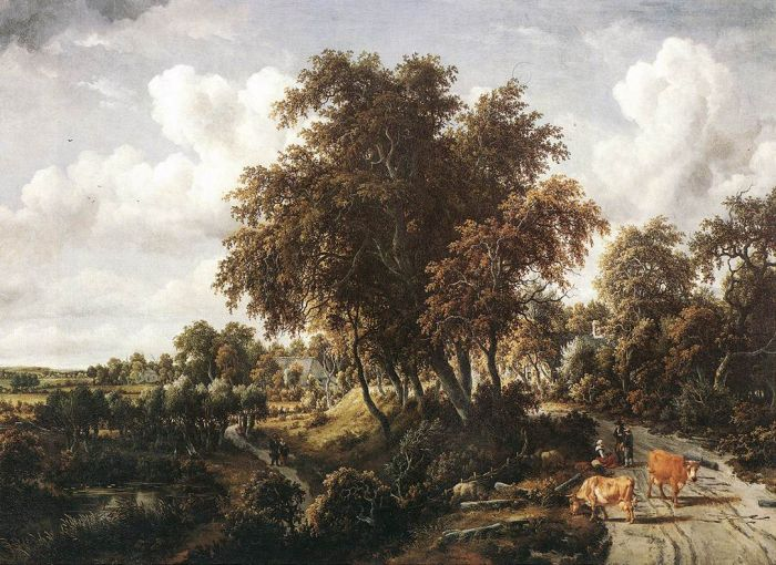 Meindert Hobbema Reproductions-Road on a Dyke, 1663