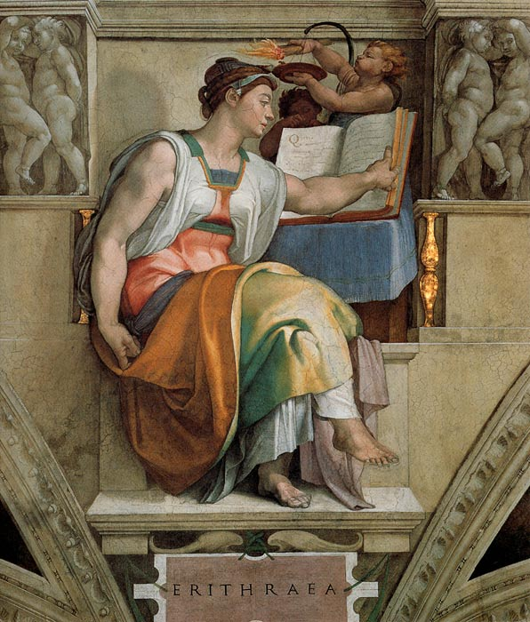 Michelangelo  Reproductions-Ceiling of the Sistine Chapel: Sybils: Erithraea, 1508-1512