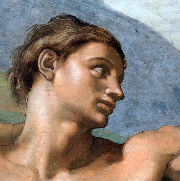 Michelangelo  Reproductions-The Face of Adam ( Detail from the Scene Creation of Adam ))