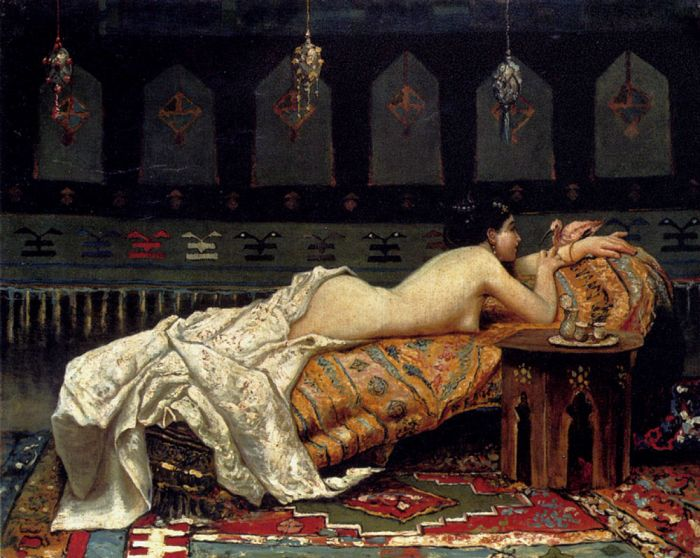 Paintings Reproductions Michetti, Francesco Paolo Odalisque, 1873