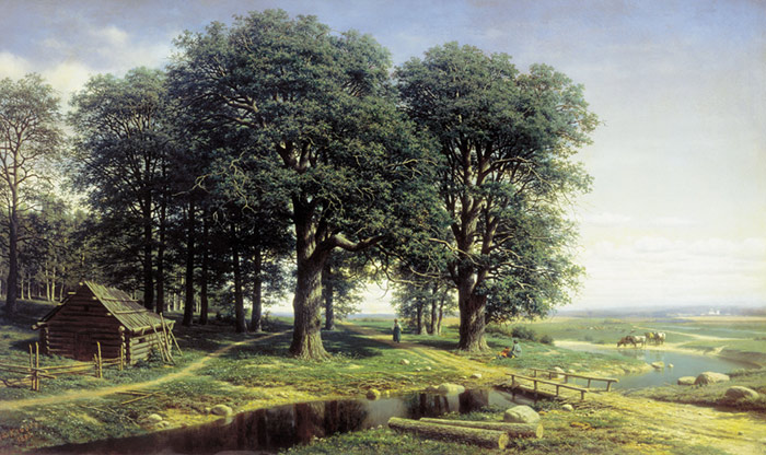 Paintings Reproductions Klodt, Mikhail Konstantinovich Oak Forest , 1863