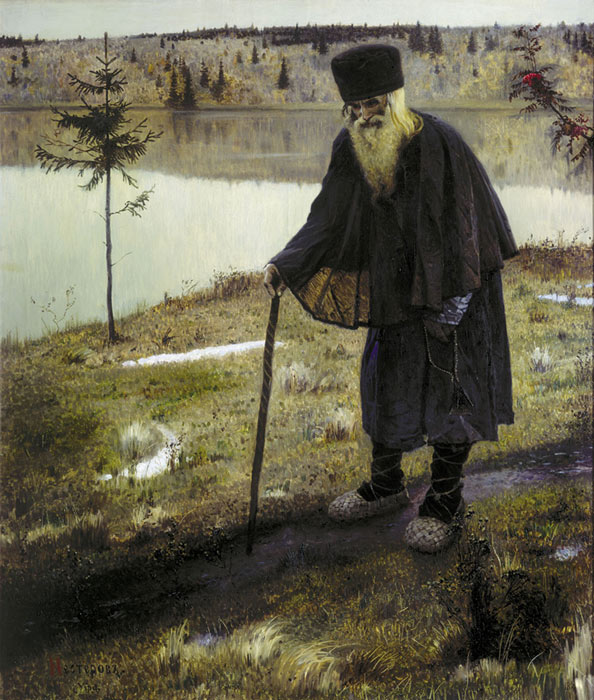 Paintings Reproductions Nesterov, Mikhail Vasilyevich Hermit. 1888�89