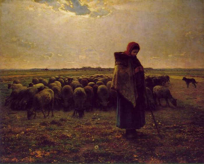Paintings Reproductions Millet, Jean Francois Shepherdess with her flock, 1864