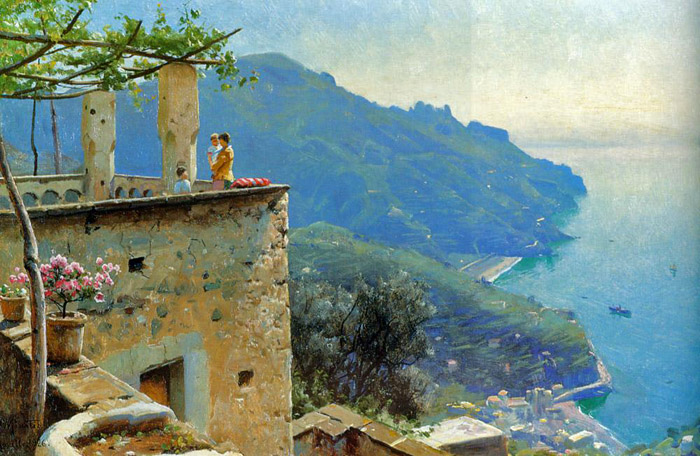 Peder Mork Monsted Reproductions-The Ravello Coastline