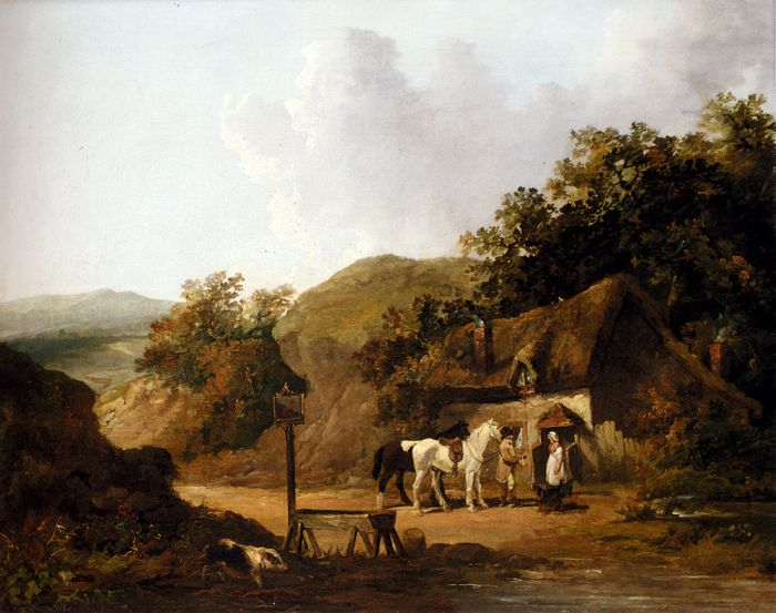 George Morland Reproductions- Taking Refreshments Outside A Village Inn