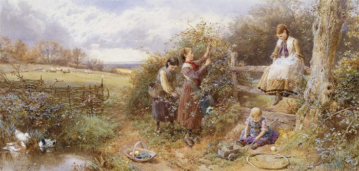 Myles Birket Foster Reproductions-The Blackberry Gatherers