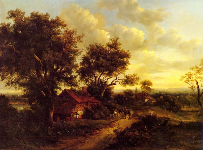Paintings Reproductions Nasmyth, Patrick A Landscape With A Cottage Near Dorking, 1828