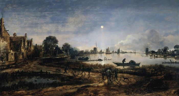 Paintings Reproductions Neer, Aert van der  River View by Moonlight , 1645