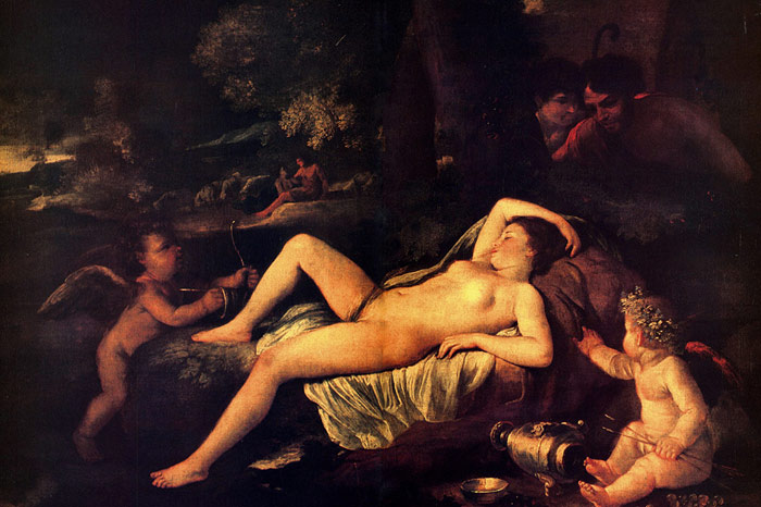 Nicolas Poussin Reproductions-Sleeping Venus and Cupid