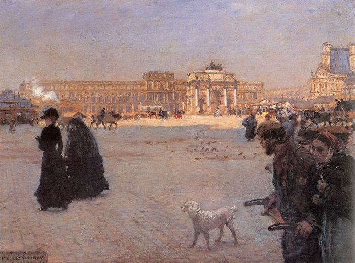 Paintings Reproductions Nittis, Giuseppe De The Place de Carrousel and the Ruins of the Tuileries Palace in 1882