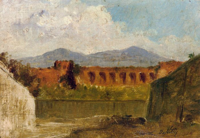 Paintings Reproductions Nittis, Giuseppe De A Roman Aqueduct, 1874