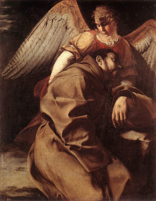 Orazio Gentileschi Reproductions-St Francis Supported by an Angel, 1603