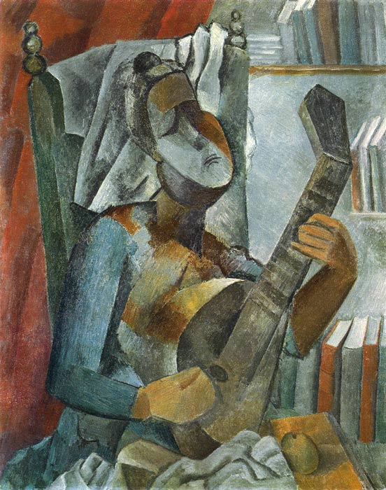 Pablo Picasso Reproductions-Woman Playing the Mandolin, 1909