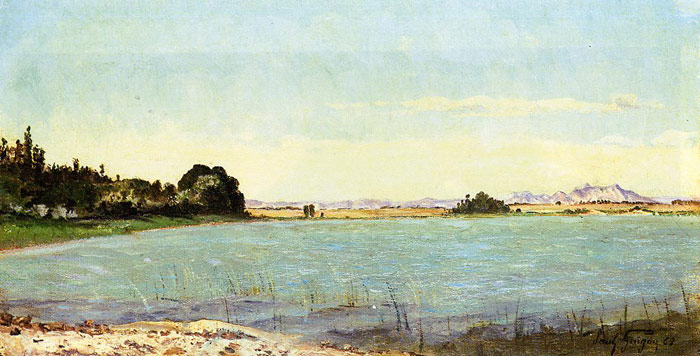 Paul-Camille Guigou Reproductions-A Lake in Southern France, 1863