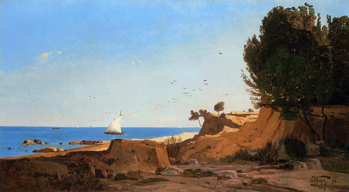 Paul-Camille Guigou Reproductions-Around the Cap-Couronne near Marseille, 1866
