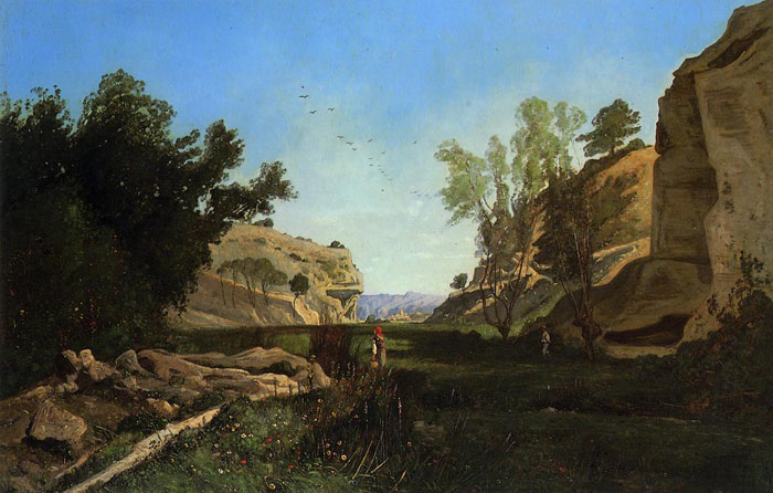 Paul-Camille Guigou Reproductions-Chinchin Valley at Ile-sur-la-Sourgue, Vacluse, 1869
