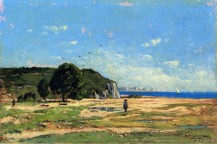 Paul-Camille Guigou Reproductions-Hunters near the Coast of Marseille, 1869